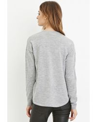Forever 21 - Gray Contemporary Dropped-hem Wool Sweater - Lyst