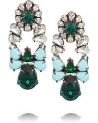 Shourouk - Green Mia Gunmetaltone Crystal Earrings - Lyst