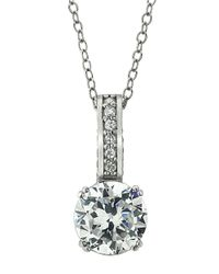 Lord & Taylor | Metallic Sterling Silver And Cubic Zirconia Solitaire Pendant Necklace | Lyst