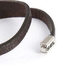 DIESEL | Brown Logo Leather Bracelet for Men | Lyst