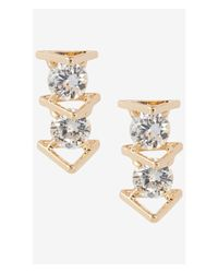 Express Metallic Cubic Zirconia And Triangle Post Earrings
