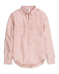 H&M - Pink Lyocell Shirt - Lyst