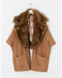 ASOS | Natural Cape With Detachable Fur Collar | Lyst
