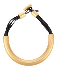 Monies | Metallic Gold Tone Wood Necklace | Lyst