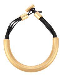 Monies Metallic Gold Tone Wood Necklace