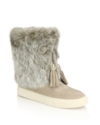 Tory Burch | Natural Anjelica Rabbit Fur-trimmed Suede Boots | Lyst