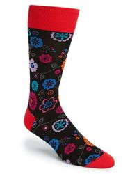 Bugatchi | Black Floral Print Cotton Blend Socks for Men | Lyst