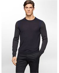 Calvin Klein | Blue White Label Merino Wool Colorblock Rib Knit Sweater for Men | Lyst
