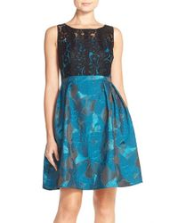 Adrianna Papell - Black Lace Jacquard Fit & Flare Dress - Lyst