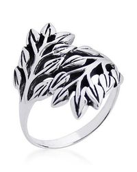 Aeravida | Metallic Nature Exotic Double Leaves Wrap Sterling Silver Ring | Lyst