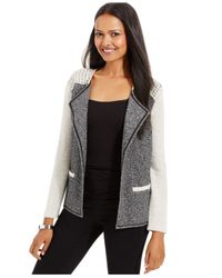 Style & Co. | Gray Petite Studded Open-front Blazer | Lyst