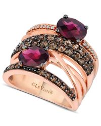 Le Vian | Metallic Rhodolite Garnet(1-9/10 Ct. Smokey Quartz (9/10 Ct T.w.) And Diamond Accent Gladiator Ring In 14k Rose Gold | Lyst