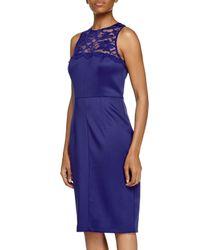 27affa82 Lyst - Alexia Admor Lace-yoke Cocktail Dress in Blue