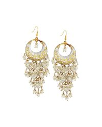 Chamak by Priya Kakkar | Metallic Half-moon Chandelier Earrings | Lyst