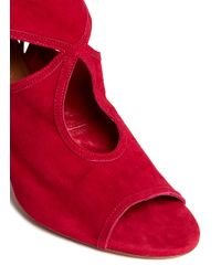 Aquazzura - Red 'sexy Thing' Suede Cutout Sandals - Lyst