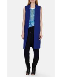 Karen Millen Blue Tailored Longline Waistcoat