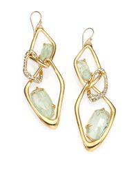 Alexis Bittar | Metallic Crackle Stone Crystal Infinity Link Earrings | Lyst