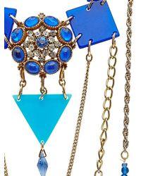 Maria Zureta | Metallic Blue & Gold Chain Long Necklace | Lyst