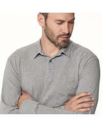 James Perse - Black Brushed Cotton Pocket Polo for Men - Lyst