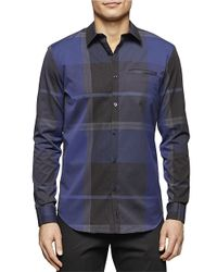 Calvin Klein | Blue Plaid Sportshirt for Men | Lyst