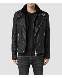 AllSaints - Black Prospect Leather Biker Jacket - Lyst