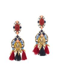 J.Crew | Multicolor Tassel Trim Earrings | Lyst