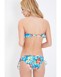 Forever 21 - Multicolor Tropical Print Flounce Bandeau Bikini Top - Lyst