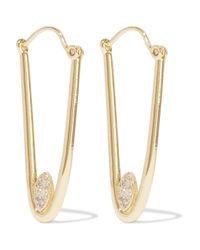 Kevia - Metallic Gold-plated Cubic Zirconia Hoop Earrings - Lyst