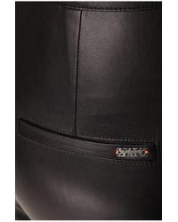 BOSS Orange | Black Biker Trousers In Leather-effect 'siloka' | Lyst