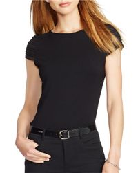 Lauren by Ralph Lauren | Black Petite Pintucked Cap-sleeved Top | Lyst