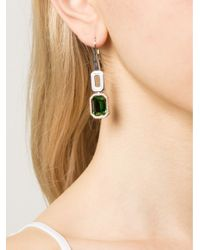 Rebecca - Elizabeth Green Stone Drop Earrings - Lyst