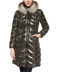 Moncler Black Bellette Fur-trim Puffer Coat