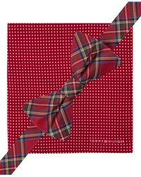 Tommy Hilfiger Red Royal Stewart Pre-tied Bow Tie And Small Dot Pocket Square Set for men