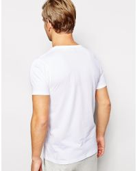 ASOS White Loungewear T-shirt With Deep V-neck for men