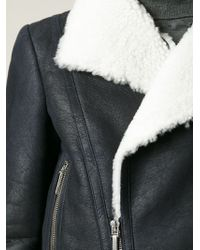 Anthony Vaccarello - Black Shearling Biker Jacket - Lyst