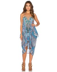 Camilla - Blue Lace-Up Printed Kaftan - Lyst