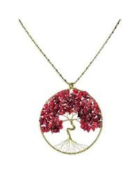 Aeravida | Red Coral Eternal Tree Of Life Brass Long Necklace | Lyst