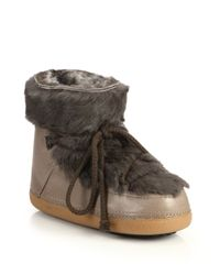 Ikkii | Brown Leather and Rabbit-Fur Moon Boots | Lyst