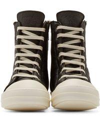 Rick Owens Black Shearling Cap Toe Sneakers for men