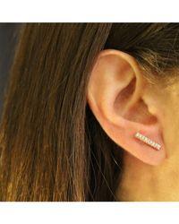 Adornia - Metallic 14k Rose Gold Diamond Bar Barra Stud Earrings - Lyst