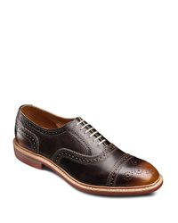 Allen Edmonds Brown Strandmok Leather Brogued Oxfords for men