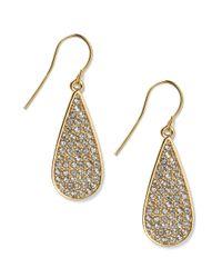 Lauren by Ralph Lauren | Metallic 14k Goldplated Crystal Pave Teardrop Earrings | Lyst