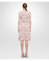 Bottega Veneta Pale Flamingo Burnt Red Crochet Tulip Print Dress