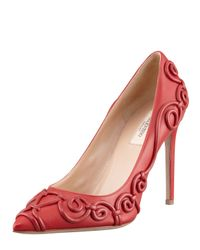 Valentino Red Pointedtoe Piped Scroll Pump