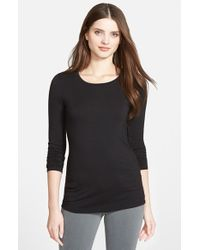 Halogen | Black Long Sleeve Crewneck Tee | Lyst