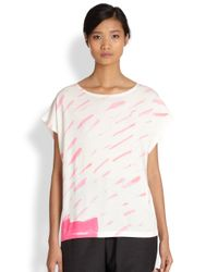 Tsumori Chisato | Pink Cats By Printed Dolman Sleeved Tee | Lyst