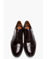 Paul Smith Dark Brown Patent Leather Wingtip Brogues for men