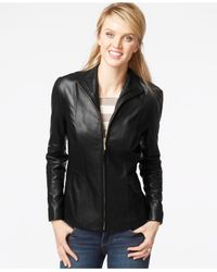 Cole Haan | Black Stand-collar Leather Jacket | Lyst