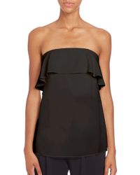 A.L.C. | Black Derby Ruffle Strapless Top | Lyst