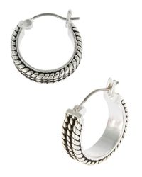 Lauren by Ralph Lauren | Metallic Textured Hoops | Lyst